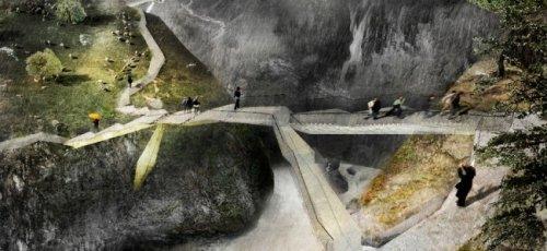 Необыкновенный мост над водопадом Вёрингфоссен